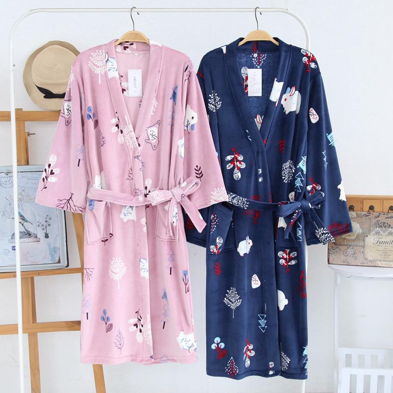 28ec3827de 2019 Autumn Winter Flannel BathRobe Men Women Robes Kimono Sleepwear Island  Velvet Night Gowns Warm Thick Home Clothing Couples Robe From Hoeasy