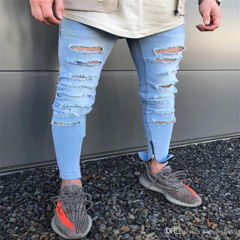eea5f22ee64 Compre 2018 Pantalones De Lápiz Azul Destruidos Para Hombre Vaqueros  Delgados De Mezclilla Rectos Biker Jeans Ocasionales Hombres Largos Pantalones  Vaqueros ...