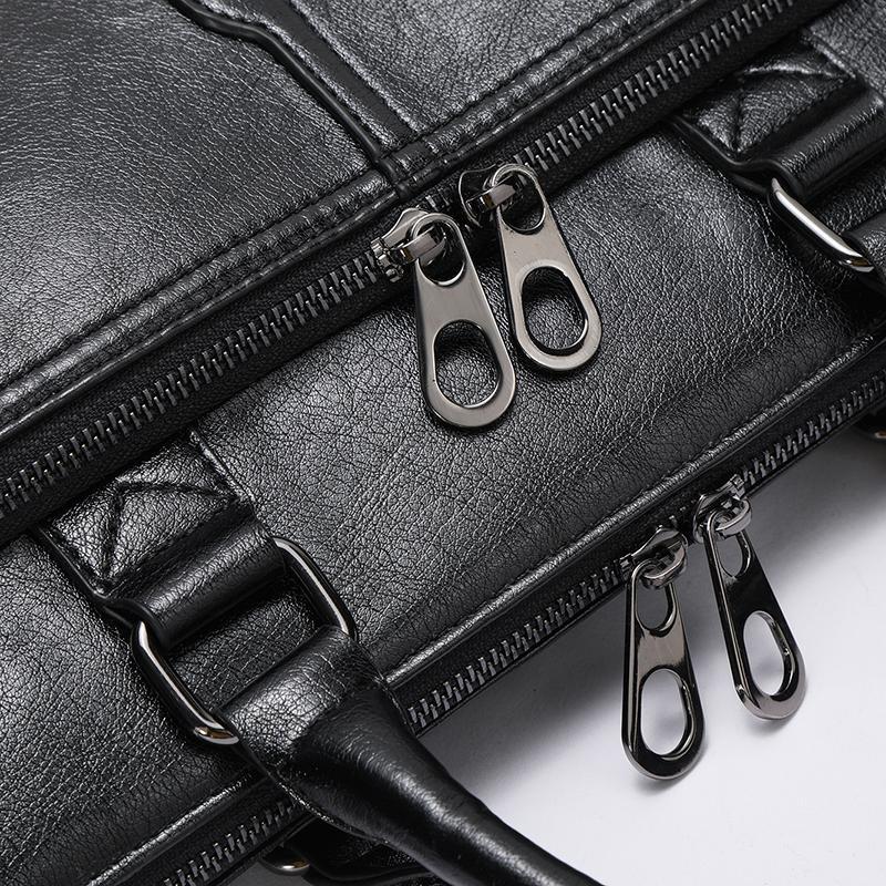 Marca de los hombres de negocios clásico negro bolsa pu maletín de cuero bolsas de asas de los hombres de moda Buena calidad masculina bolsa de ordenador portátil de negocios