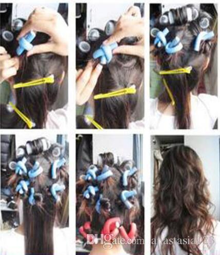 패션 Bendy 롤러에서 Flexi Rods / Set 7 가지 스타일 Diy Hair Curling Rods 머리 용 매직 헤어 롤러 소프트 플렉스로드