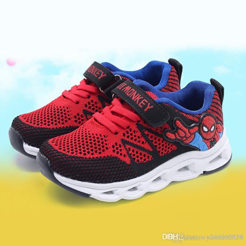 2b25baba2 Compre Luces LED Para Niños Spiderman Zapatos Para Niños Y Niñas Zapatos  Deportivos Que Brillan Zapatos Casuales Transpirables Tamaño 22 31 A  24.36  Del ...