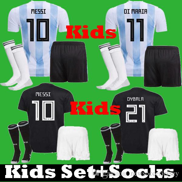 Compre 2018 Crianças Argentina Messi DYBALA ICARDI AGUERO Crianças 2019  Tailândia Camisas De Futebol 18 19 Uniforme Kits DI MARIA HIGUAIN TEVEZ  Camisas De ... 4c5fdcf6807c6