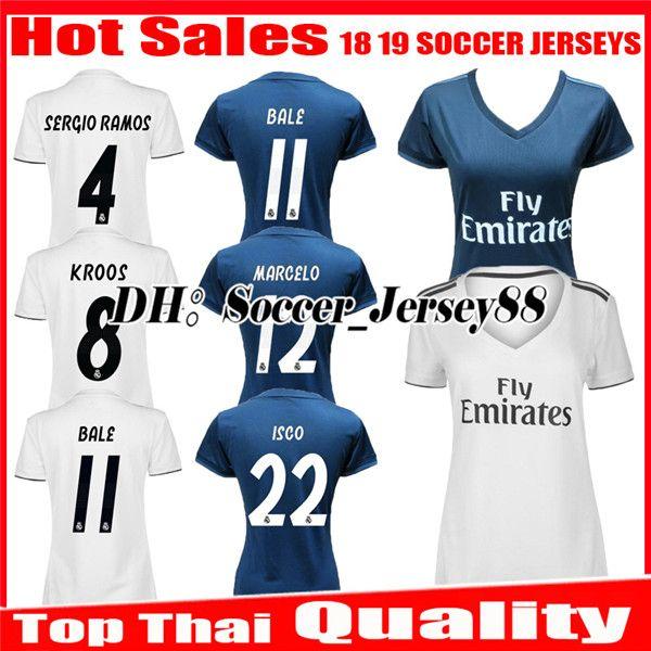 794618192e8 2019 Women 2018 2019 Real Madrid Home Soccer Jersey 1819 BENZEMA BALE KROOS SERGIO  RAMOS MODRIC ISCO Girl ASENSIO MARCELO Away Football Shirts From ...