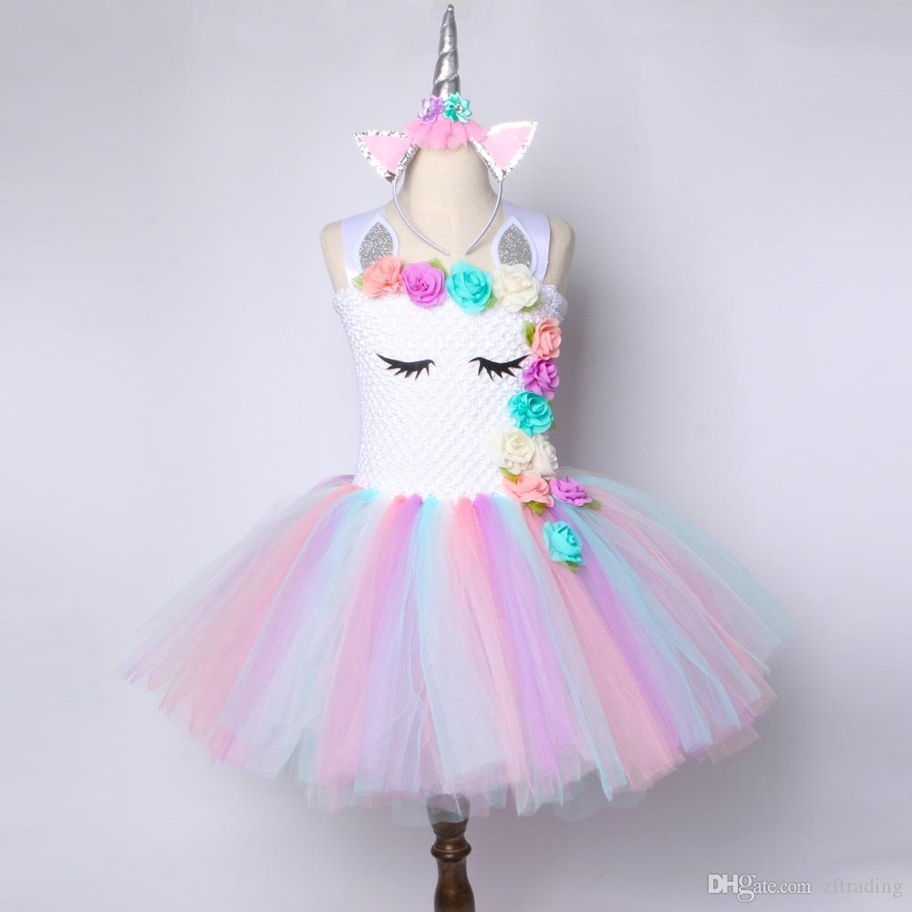 f949f02c61 Compre Meninas Flor Unicórnio Tutu Vestido Rainbow Pastel Princesa Meninas  Vestido De Festa De Aniversário Das Crianças Do Dia Das Bruxas Unicórnio  Traje 2 ...