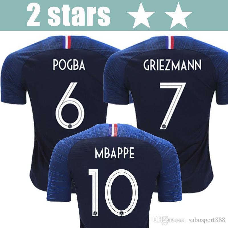 800f2f798 2 Stars Thailand 2018 World Cup MBAPPE GIROUD GRIEZMANN POGBA soccer jersey  18 19 National Team Football shirt home away Maillot de foot