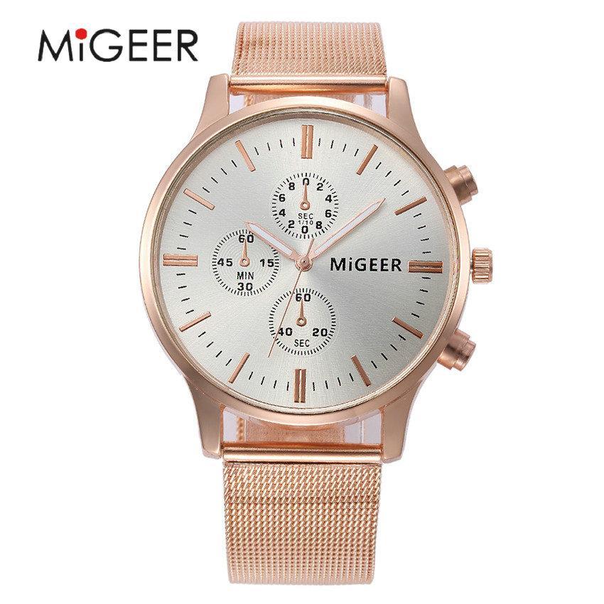 1a75439e84f Compre MIGEER Mens Relógios Top Marca De Luxo Pulseira De Aço Relógio De  Quartzo Homens Nova Moda Relógio De Pulso Casual Relógio De Negócios Relogio  ...