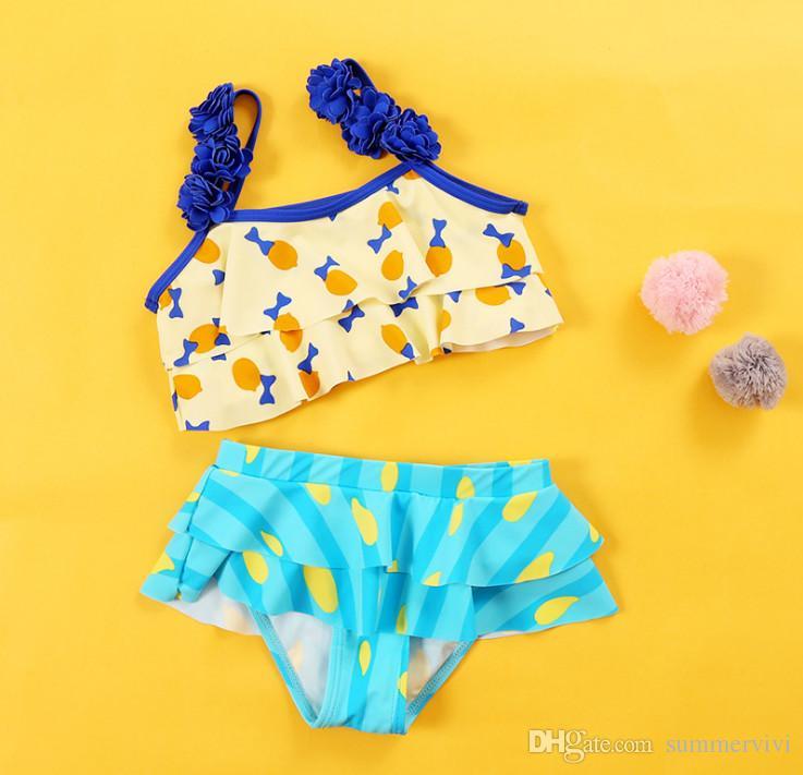c9e5b13e77a 2019 2018 New Children Bikini Swimming Girls Stereo Floral Split Swimsuits  Kids Cartoon Stripes Printed Falbala Spa Beach Bathing Suits Y7063 From ...