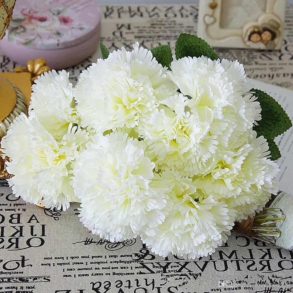 2018 Artificial Flowers 10 Heads Fake Carnation Bridal Bouquets 157