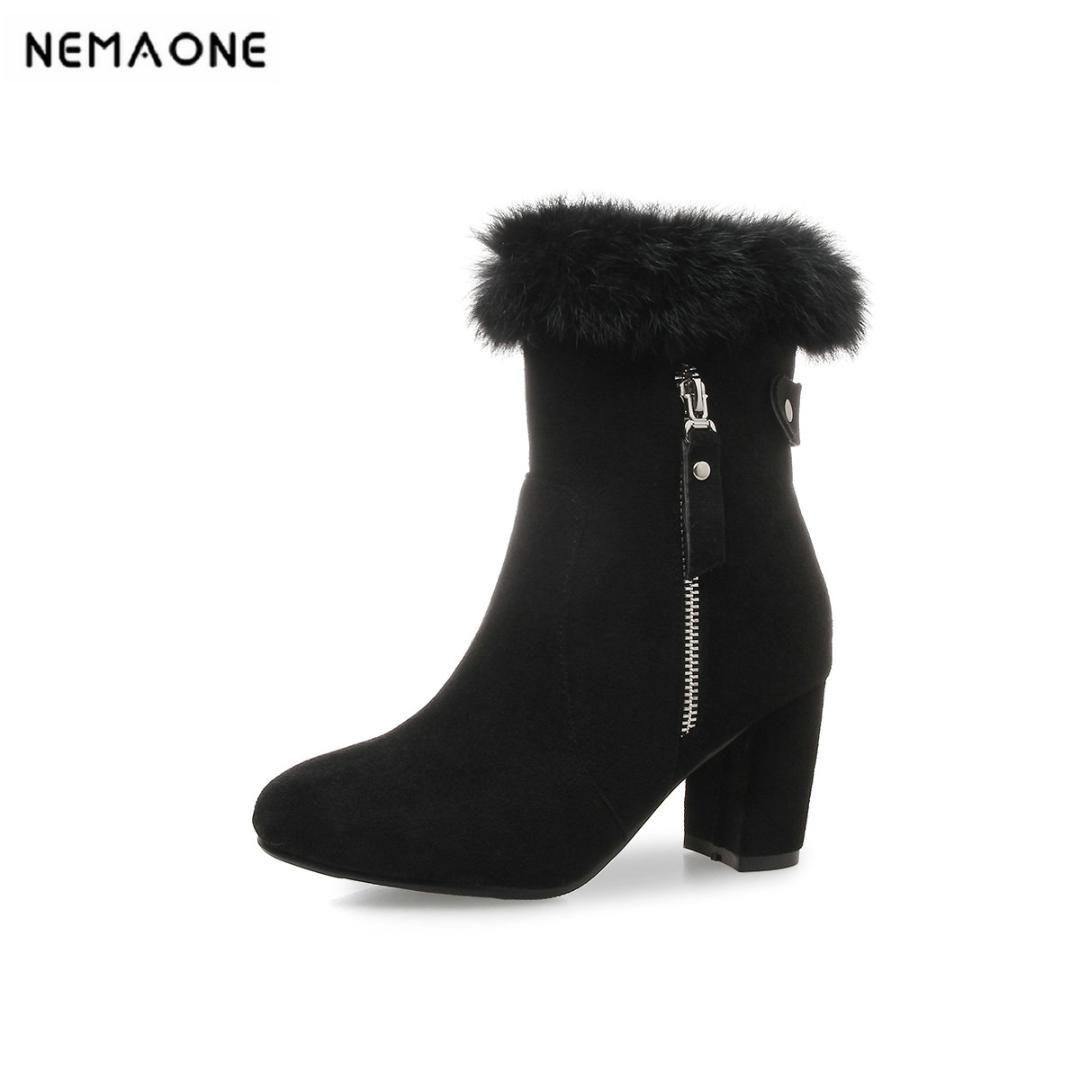 2019 Women Fashion Ankle Snow Boots 8cm High Heels Women Shoes