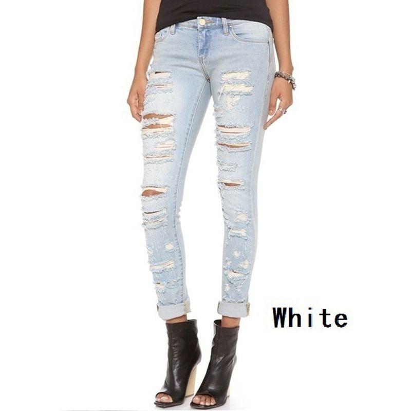 b6bce4fa1684 Acquista Jeans Skinny Bucati Jeans Strappati Nuove Donne Di Moda Pantaloni  Baggar Jeans Boyfriend Denim Jeans Femminili Matita Emolliente S XXL A   25.91 Dal ...