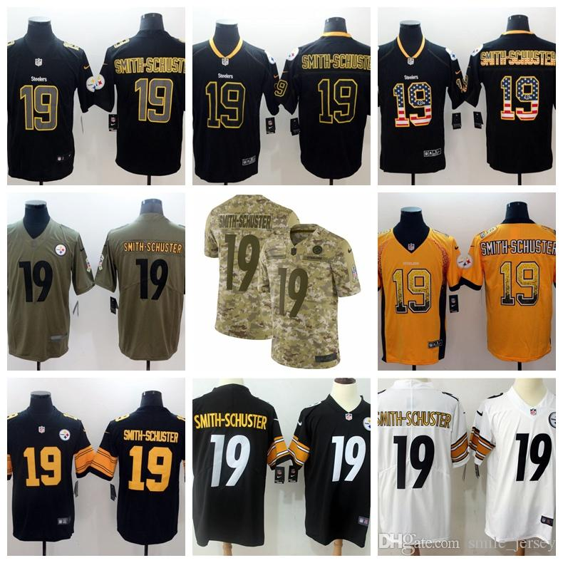 Mens 19 JuJu Smith-Schuster Pittsburgh Jersey Steelers Football ... 2c50f06f741
