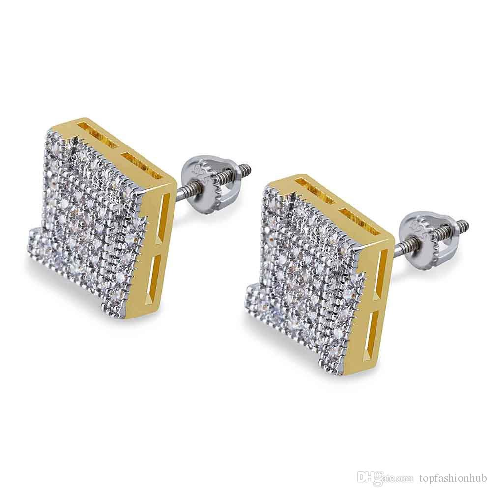 European and American personality square ladder hip-hop stud full of  zircons double colored men s Earrings