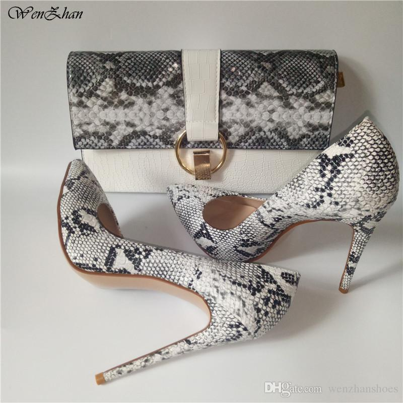 d9345405 WHITE Female Concise Solid Snake Leather Shallow Women Pumps Sexy Pointed  Toe Strong High Heels Shoes Match Clutch Handbag hottest 86-15