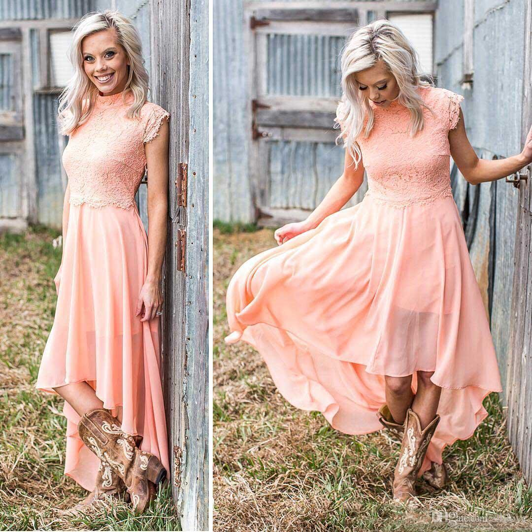 d1013cf5870 Coral Chiffon High Low Bridesmaid Dresses For Wedding Party Cheap ...