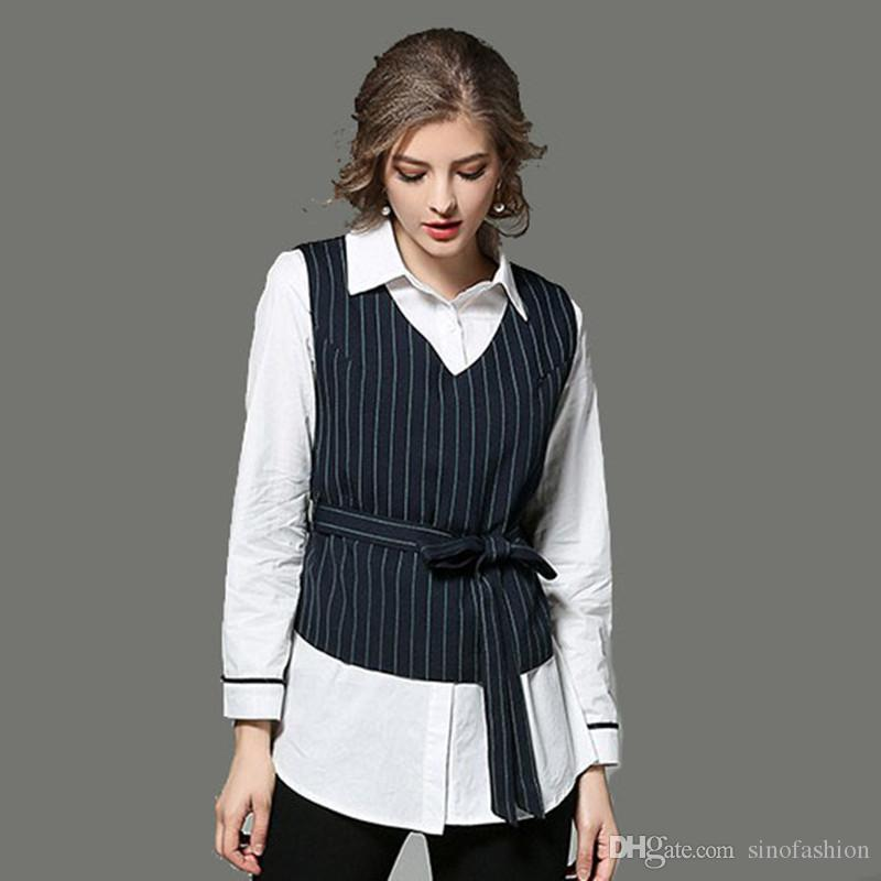 87984c05bce6 2019 Formal Shirt OL Career Work Tops Women Long Sleeve White Shirts Black  Striped Vest Two Piece Set From Sinofashion