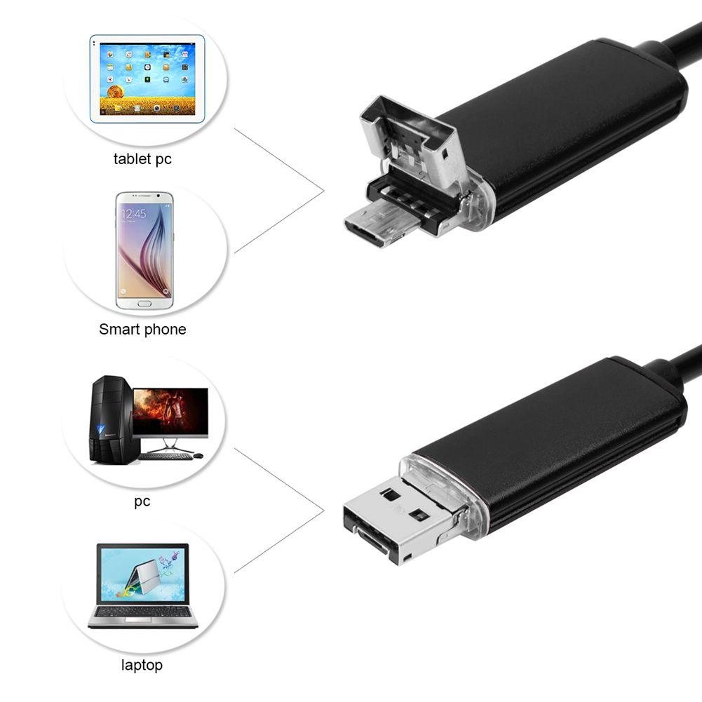 2 IN 1 2M 내시경 7MM 내시경 HD USB 안드로이드 내시경 OTG IP67 안드로이드 내시경 USB 엔도 스코프 검사 카메라