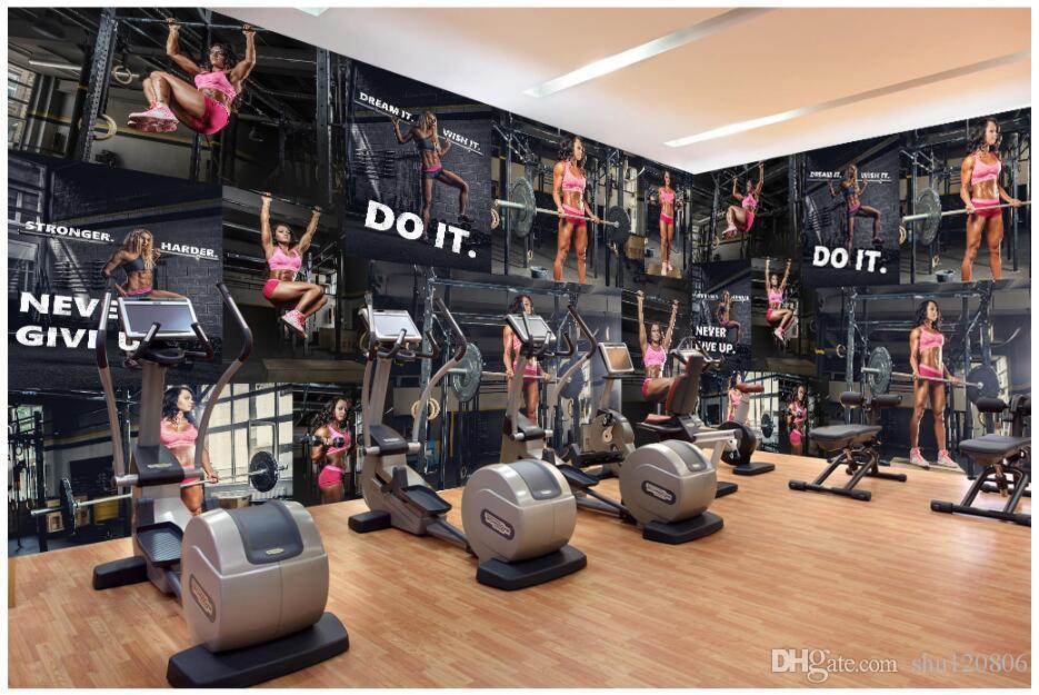3d wallpaper cloth custom photo Modern gym fitness sexy beauty tooling background wall 3d wall murals wallpaper for walls 3 d living room