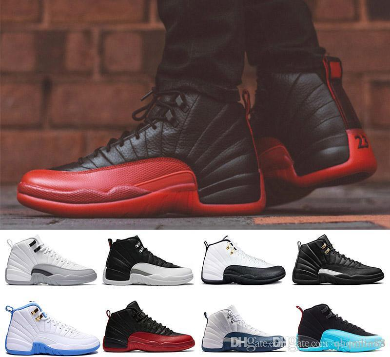 competitive price edbf7 0c39c Basketball Shoes 12 12s OVO White Gym Red Dark Grey Basketball Shoes Men  Women Taxi Blue Suede Flu Game CNY Sneakers With Box