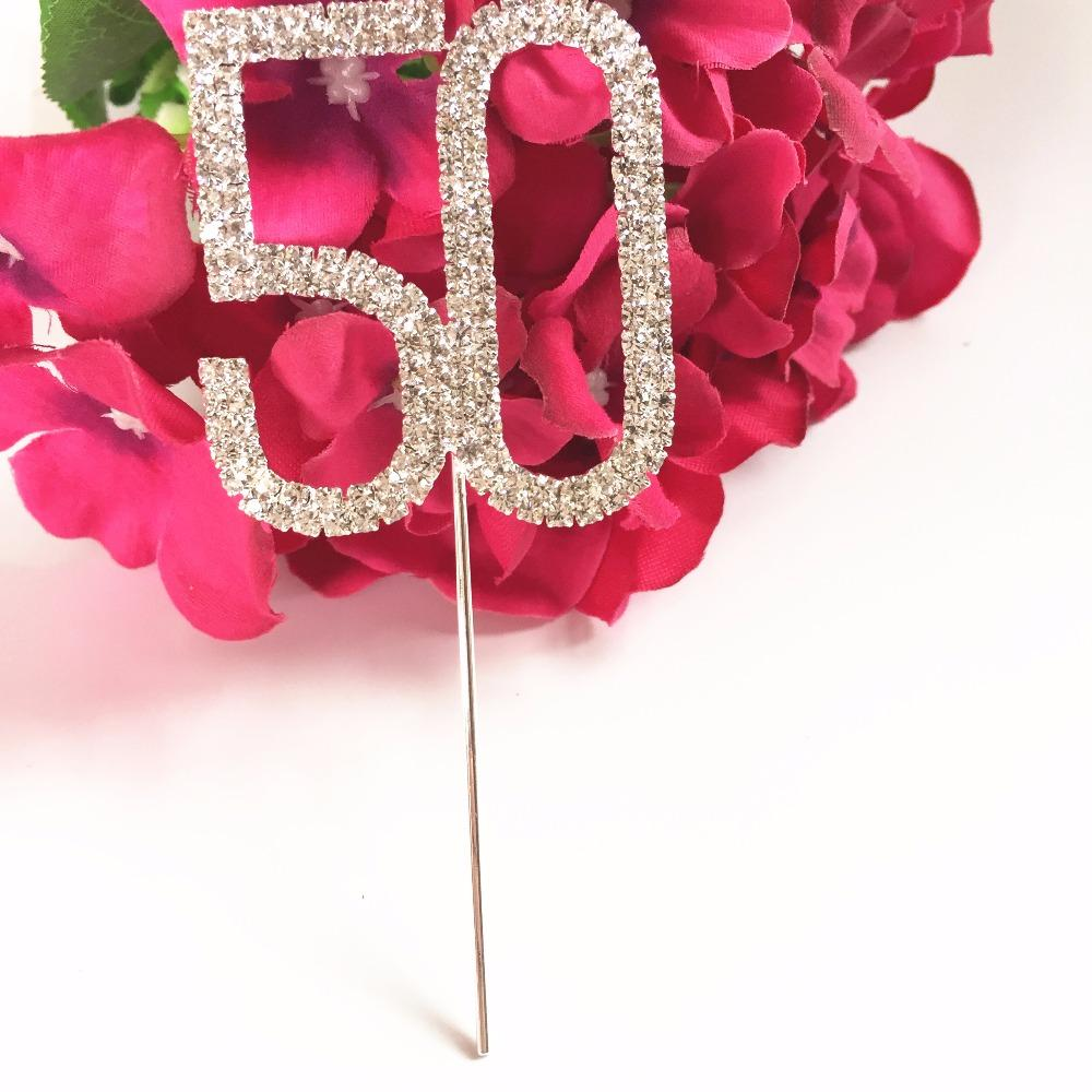 2019 Happy 50th Birthday Wedding Anniversary Party Decoration 5 Cm Number 50 Rhinestone Crystal Cake Topper From Doost 3387