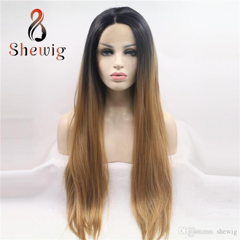 Compre As05 4t27 Long Sedky Straight Blonde Brown Ombre Sintetico