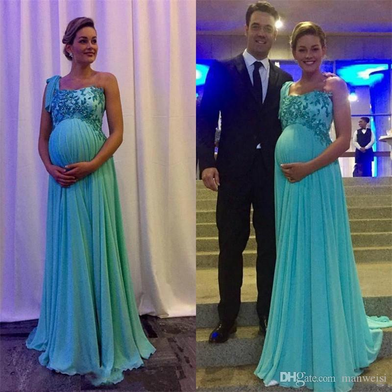 bc2e4330a Compre Un Hombro Embarazada Gasa Apliques Vestidos Nuevo Draped Baby Shower  After Party Vestidos De Noche Vestidos Formales Largos Por Encargo Vestido  De ...