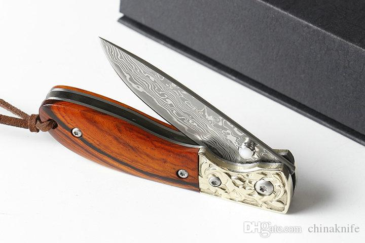 Fast Shipping EDC Pocket Folding Knife Damascus Steel Blade Rosewood Handle Liner Lock Small Folding Knives With Nylon Bag