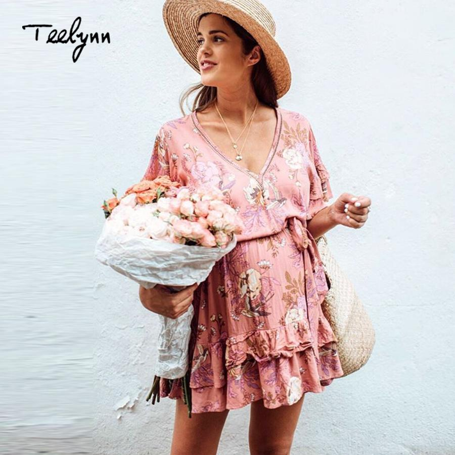 e368c8524247 2019 TEELYNN Mini Boho Dress Autumn Rayon Floral Print Dresses Sexy V Neck  Flare Sleeve Dress Hippie Short For Women Vestido From Zhaolinshe