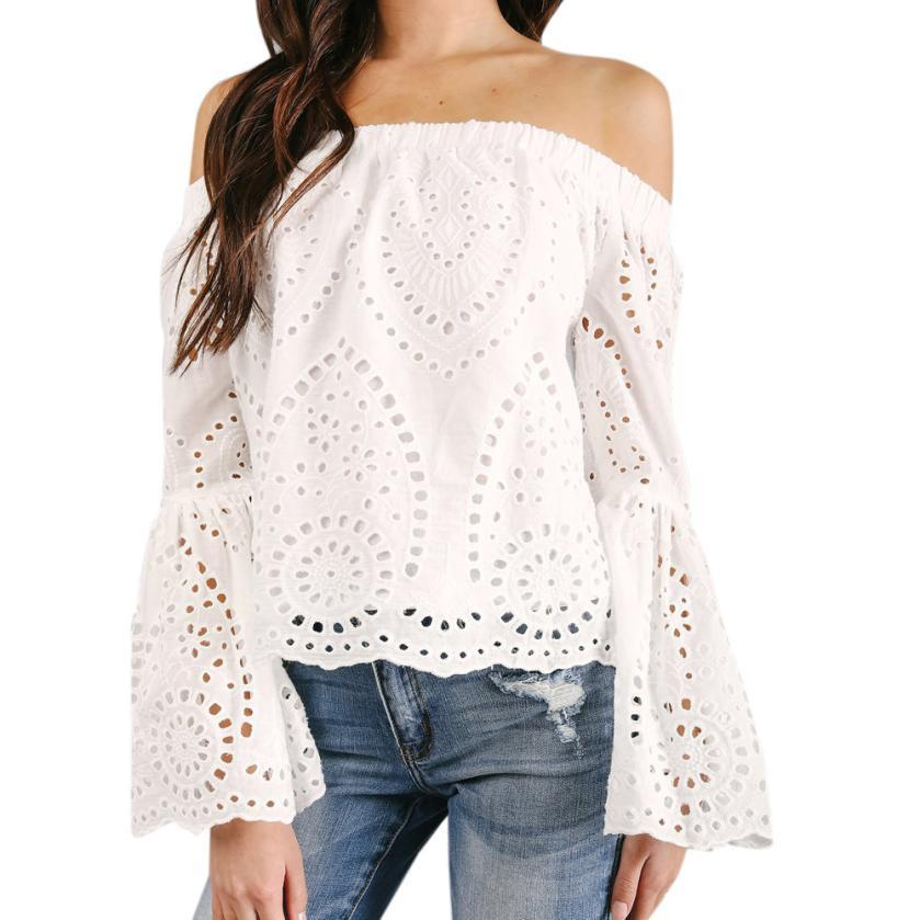 Women's Clothing Sporting New Arrival Womens Blouses And Tops Sexy Women Cold Shoulder Tops Ladies Flare Sleeve V Neck Blouse Shirt Bandage Plaid Blouse Durable In Use