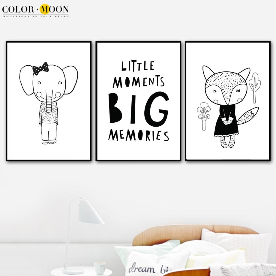 Colormoon Quotes Fox Wall Art Canvas Painting Posters And Prints Nordic Poster Black And White Nordic Style Kids Decoration