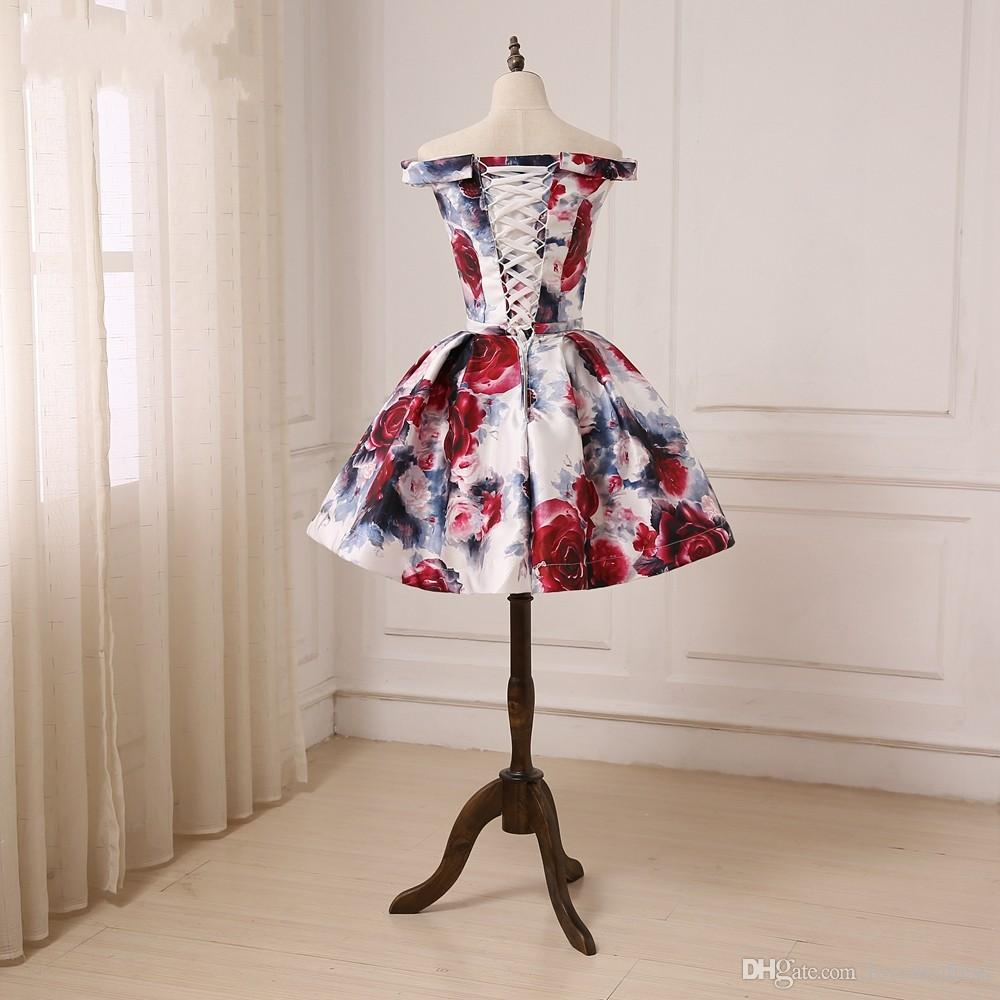 2019 Chic 3D Floral Flowers Homecoming Ball Gown Prom Dresses Short Cheap Off shoulder Corset Back Ribbon Bows Evening Cocktail dress Gowns