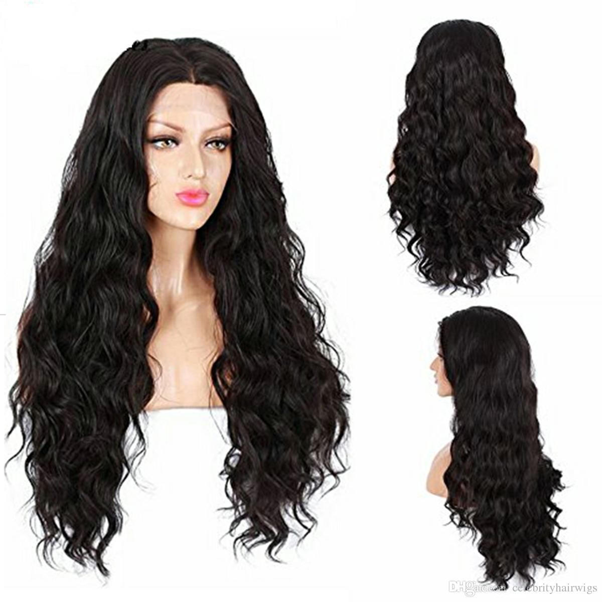 MHAZEL Loose Culy Synthetic Hair Lace Front Wig Middle Part 26inch Long Hair Wig Stock Black/Brown/Blonde