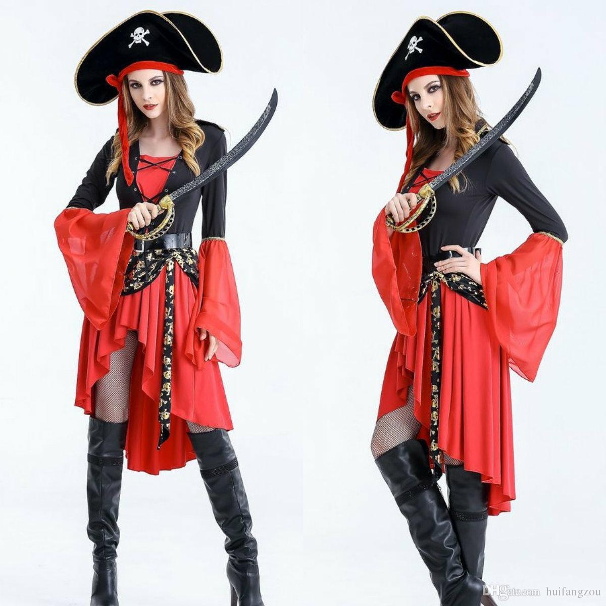 53ace283759c Acquista Costumi Di Halloween Pirata Femminile Adulti Hi Lo Maniche Lunghe  In Cotone Tre Pezzi Vestito + Cappello + Cintura Halloween Party Dress In  ...