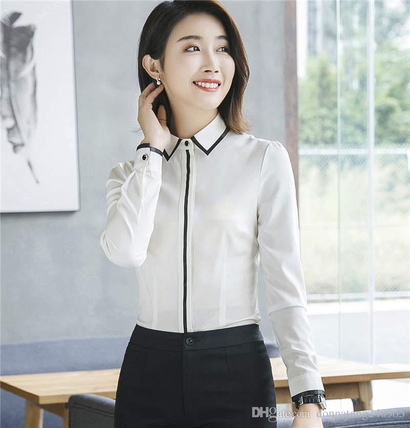 61f263d438013 2018 Spring high quality Elegant women shirt fashion clothes formal slim  Contrast Color piping chiffon blouse office ladies plus size tops
