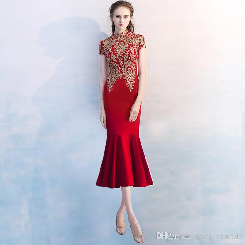Elegant Improved High Neck Embroidery Qipao Red Burgundy Tea-Length Mermaid Evening Gowns Chinese Traditional Dress Party Dress D27B