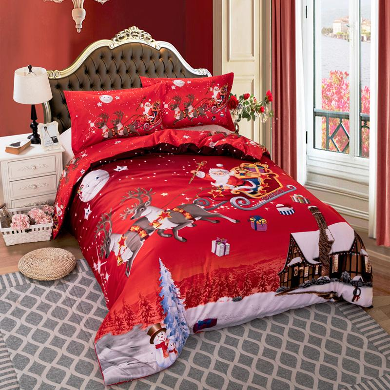 Xmas Bedding Set Single Double Queen King Twin Full Queen Uk Single Double King Size Merry Christmas Bed Linen Set 3pcs