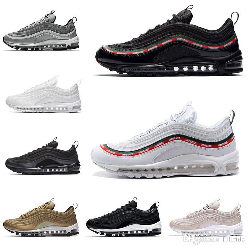 newest 8d5d4 b6971 Acheter Nike Air Max 97 New 2019 Drop Shipping 97 Chaussures De Course  Triple Blanc Noir Rose Chaussures De Course Og Metallic Gold Argent Bullet  Hommes ...