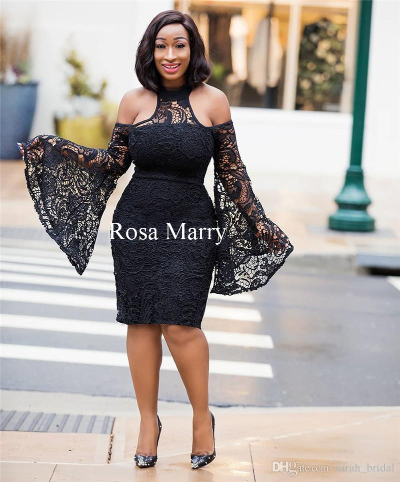 Sexy Black Vintage Lace Short Cocktail Party Dresses 2018 Long Sleeves Plus  Size Knee Length Cheap African Arabic Formal Prom Evening Gowns Purple  Dresses ... 8216c330622a