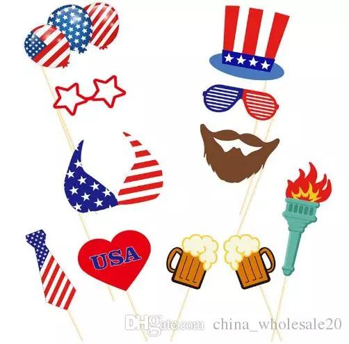 4th Of July Photo Booth Props Kit Night Games Accessories Favors DIY Out Decorations For Independence Day Party695 Birthday Decoration Items Online