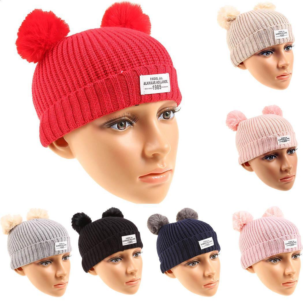 Faux Cuff Caps Textured Unisex Knit Hats Warm Newborn Beanie Pom-pom Baby Fur