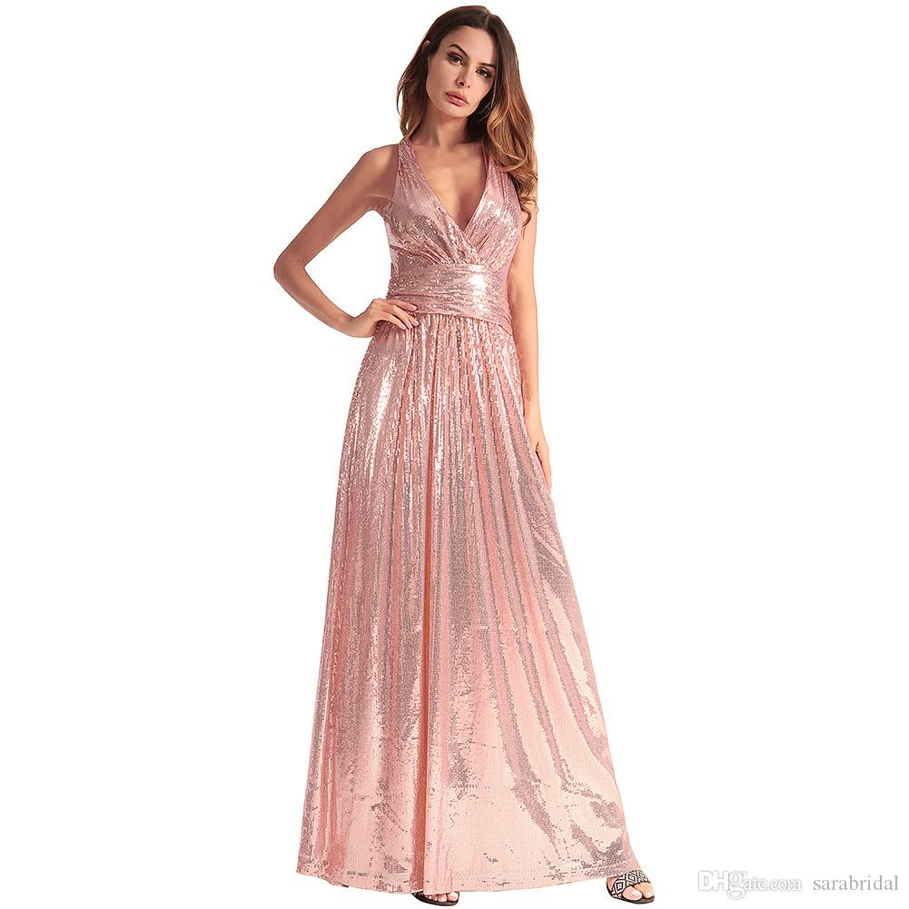 Stock Cheap Sequined African Prom Dress Long V Neck Sleevless Backless A Line Party Homecoming Gown Formal Evening Dresses Bridesmaid Beach