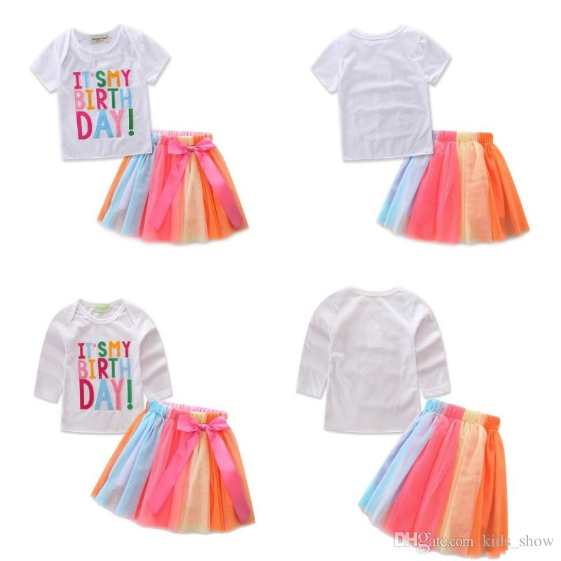 2019 ItS My Birthday Children Girls Sets Summer Casual Clothes Short Sleeve Tops T Shirt Rainbow Color Skirts Pretty Outfits From Kids Show