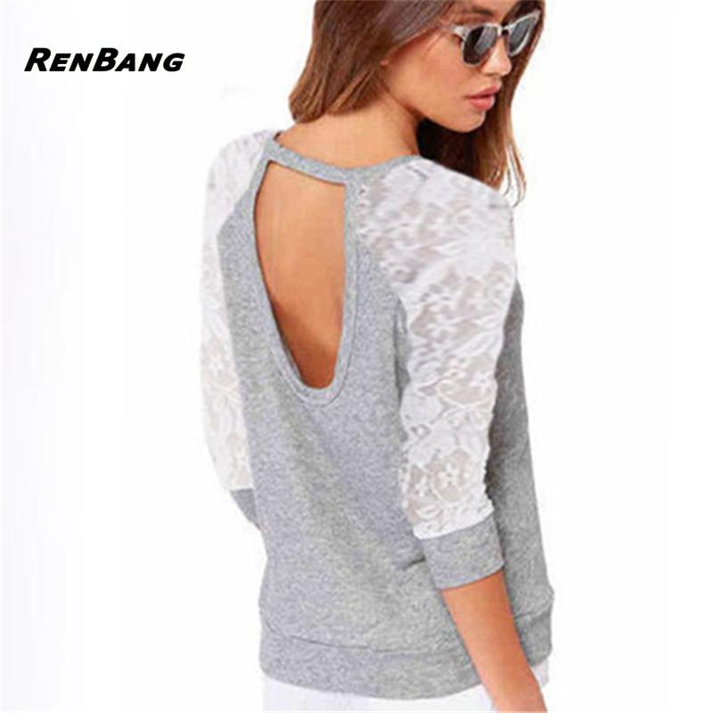 RENBANG Women's Long Sleeve Sexy Casual Hollow Out T-shirt Lace T-Shirt Backless Embroidery Knitted Tops Pullover Splicing Tees