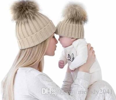 2a208d8ef3e New Parents And Kids Winter Knitted Hats With Cute Fluffy Ball Warm And  Soft Baby Mom Knit Beanie Slouchy Beanie Crochet Pattern Baby Boy Hats From  ...