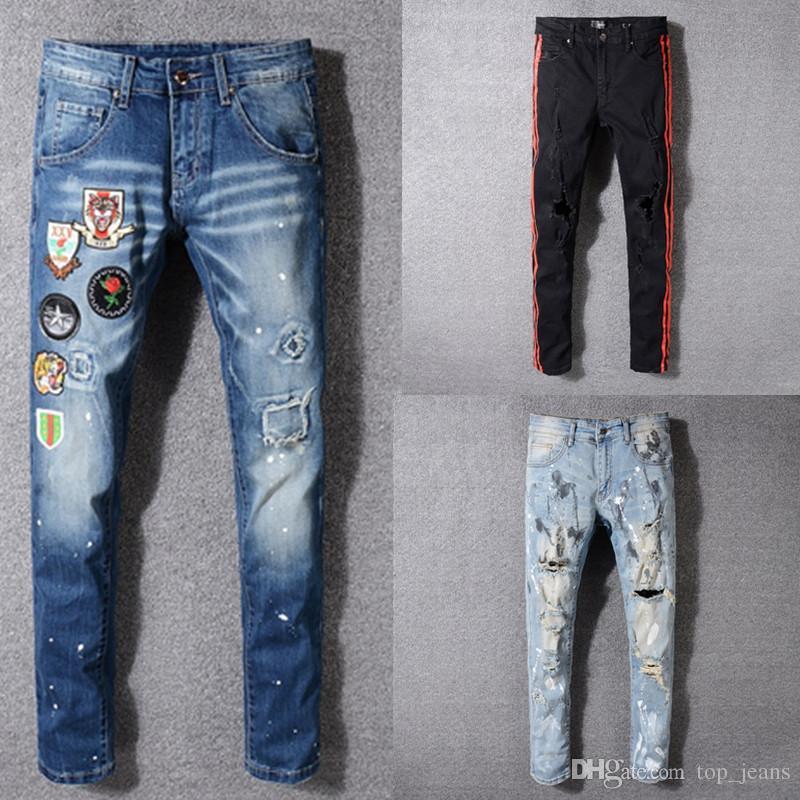d686cb65f075 Acquista Uomo Attillato Strappato Biker Jeans Taglia 28 ~ 42 Slim Fit Moto  Biker Jeans Denim Uomo Designer Di Marca Hip Hop Jeans Uomo A  45.69 Dal ...