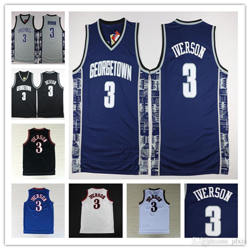 4c0f04461 2018 Ncaa High Quality Chamberlain Georgetown Hoyas College 3 Allen Iverson  Jersey University Tean Black White Gray Basketball Jerseys From Jdxia