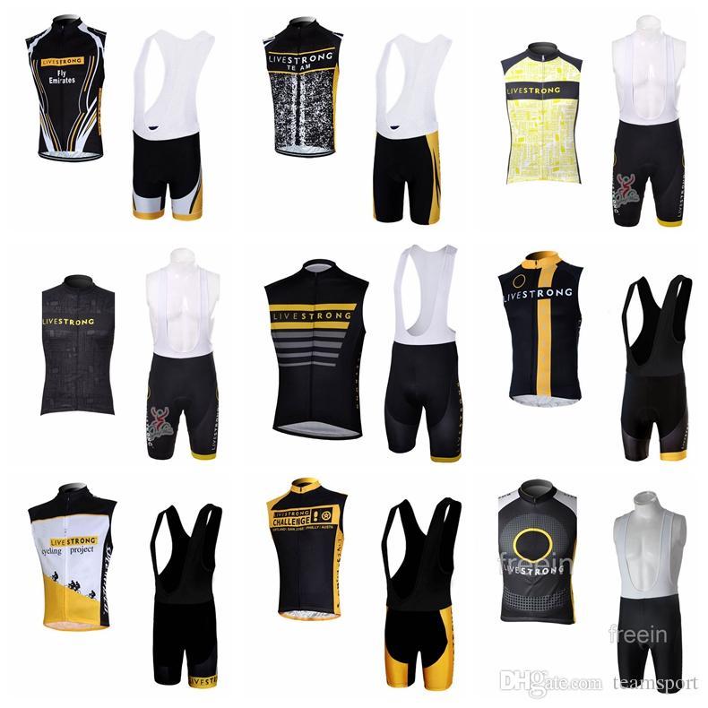 1930576b2 LIVESTRONG Team Cycling Sleeveless Jersey Vest Bib Shorts Sets Men S Summer  Style Quick Dry Mtb Bike Sleeveless Sportswear Set 841129 Cycling Shirts  Bicycle ...