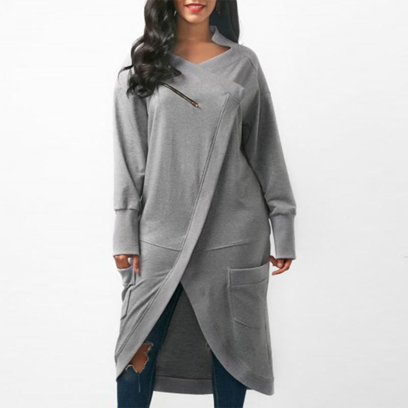 Zanzea المرأة البلوز اللباس 2018 الخريف الخامس الرقبة طويلة الأكمام غير النظامية هيم الصلبة طويل vestido الشتاء الصوف البلوز زائد الحجم