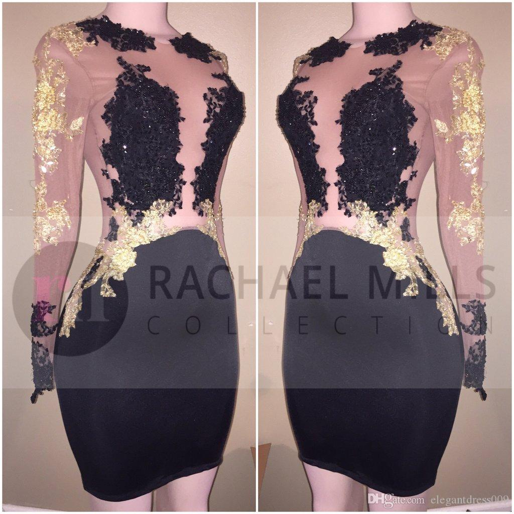 2020 новый сексуальный черный дешевые короткие коктейльные платья с длинными рукавами иллюзия золото аппликация мини оболочка короткие выпускного вечера вечерние платья для женщин
