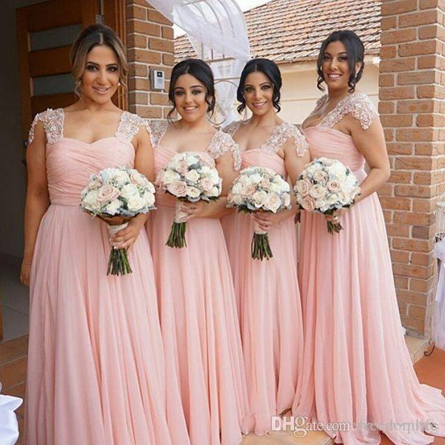 Elegant Beach Pink Bridesmaid Dresses Long Chiffon Country Style Maid Of Honor Party Gowns Wedding Guest Gowns
