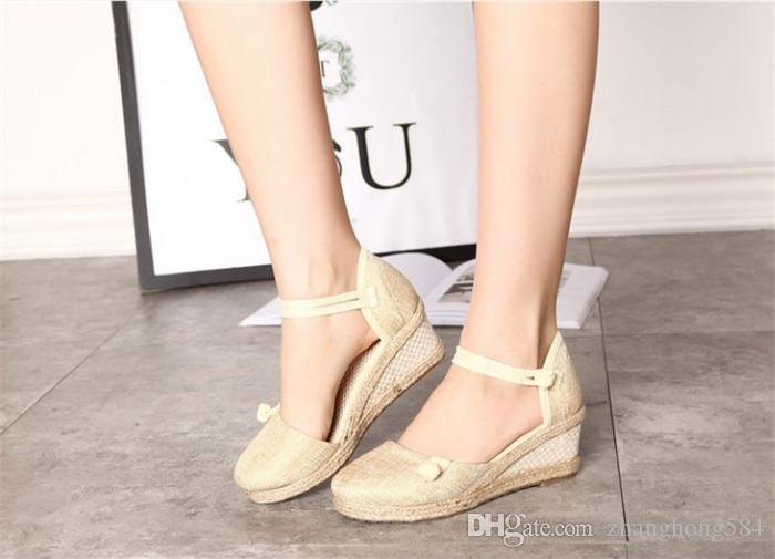Vintage embroidered women's sandal canvas wedge sandals summer Mediterranean ankle strap and platform pumps.